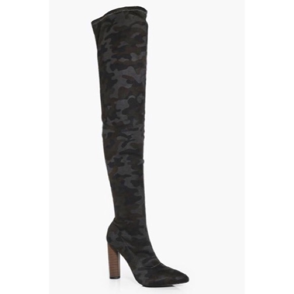837b9a84455 Boohoo Shoes - Thigh high Camo heeled boots